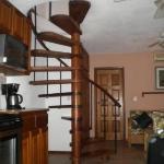 Spiral staircase in loft