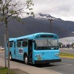 The Glacier Express Blue Bus