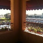 Corner balcony off room