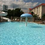 Outdoor pool and slide