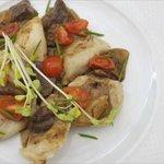 Polish pierogi with weird looking mushrooms.