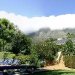 View from gardens up to Devils Peak and Table Mountain