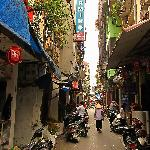 The small street is quiet for Hanoi
