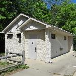 Restroom building near the entrance