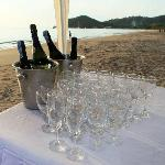 At the wedding ceremony on the beach