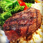 top sirloin steak with brown rice, veggies