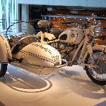 Vintage BMW motorcycle with side car in a rare white color combination