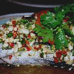 Steamed Seabass with garlic and lime