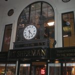 The front of Nat Sherman's with the iconic clock
