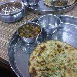 Amritsari aloo kulcha, channa and dal