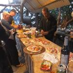 getting pizzas ready for the pizza oven