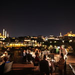 terrace at night with old city view