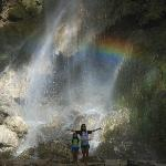 When sunlight strikes the falling water, a very visible rainbow would appear at it's base.