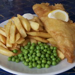 Cod, chips and Peas at the Boathouse.