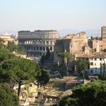 The valley of the Roman Forum and the Colosseum