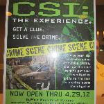 Flyer on the front desk for CSI attraction