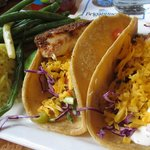 Brigantine Swordfish Tacos with Rice Pilaf and Seasonal Vegetable