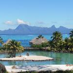 Picture Perfect Postcard View of Hotel and Moorea from lobby and restaurant