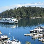 View of ferry arriving from room 36 at Friday Harbor House- How can you beat this?