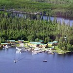 Dogskin Lake Lodge from the air
