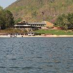 View of beach, restaurant, ice cream shop, pontoon and peddleboat rentals