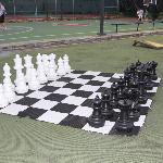 Large Chess Game; they also have checkers, next to tennis and basketball courts