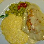 Baked Flounder Filet with Crab topped with Veloute Sauce