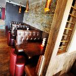 Cosy booths opposite bar