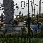 Note all of the steel barriers closing off the play areas!!!