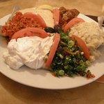 Mixed Appetizers (Humus, lebni, ezme, eggplant sause, tabule, babagannush)