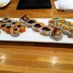 L-R(crunchy roll, soft shell crab & Acadiana roll)