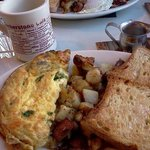 Athenian Omlette with toast and homefries. Gluten Free