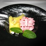 Mango-Wrapped Cream Cheese with Raspberry Mousse and Pink Peppercorns