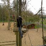 crossing the lower level of the adult high ropes adventure course