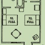Motel room floorplan