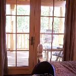 A connecting door to the porch from the bedroom.
