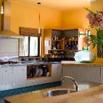Spacious kitchen overlooking the herb garden and avocado trees