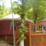 front view of outside of the yurt