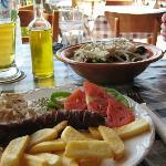 Village sausage and Greek salad