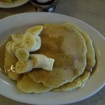 pancakes and just the banana from fruit salad