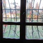 finestra della camera matrimoniale con vista su un grande giardino