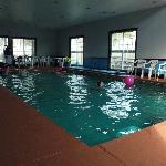 long shot of indoor heated pool