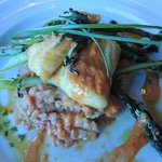 Halibut with Salmon Risotto and Asparagus