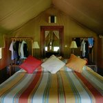 The tent interior (huge bathroom at the back behind mirror door)