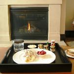 Breakfast by the fire in my room