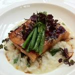 Miso Salmon Over Risotto with a Bouquet of Asparagus