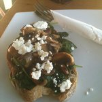 Mushroons on Milawa Toast with wilted Spinach & Goats Chevre
