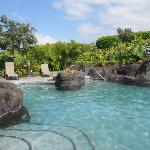beautiful pool w lava rock and waterfalls