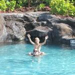 Kids loved the lava rock pool - waterfall in background