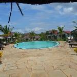 Vue du jardin, avec la piscine, entourée des cottages